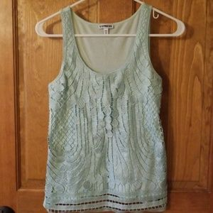 Express Light Blue Mint Lace Tank Top Preppy XS